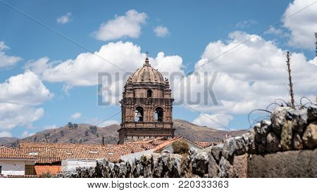 Cusco, Peru - September 2017: Convent of Santo Domingo in Koricancha complex. Koricancha was the most important temple in the Inca Empire dedicated to the Sun God