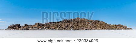 Incahuasi island in the Uyuni Saline Salar de Uyuni, Aitiplano, Bolivia