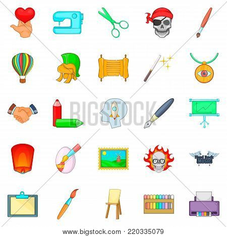 Creativity intelligence icons set. Cartoon set of 25 creativity intelligence vector icons for web isolated on white background