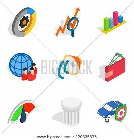 Successful idea icons set. Isometric set of 9 successful idea vector icons for web isolated on white background