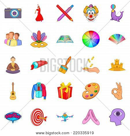 Intelligence icons set. Cartoon set of 25 intelligence vector icons for web isolated on white background