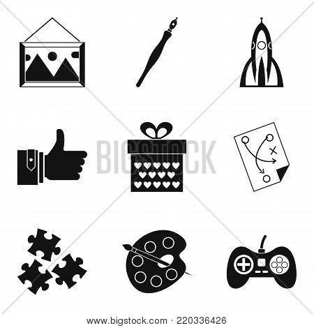 Unique idea icons set. Simple set of 9 unique idea vector icons for web isolated on white background