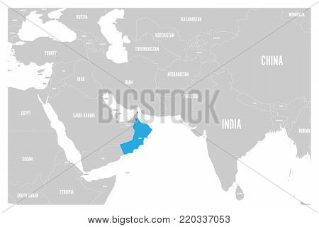 Oman blue marked in political map of South Asia and Middle East. Simple flat vector map..