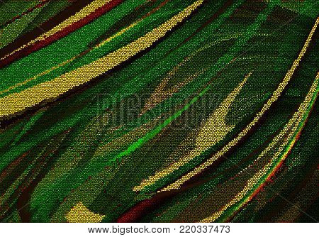 Abstract mosaic background in shades of green,collected from different blocks and covered with yellow, brown and yellow curved stripes