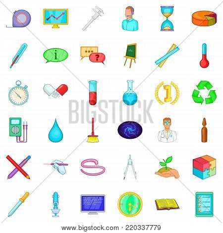 Chemistry icons set. Cartoon style of 36 chemistry vector icons for web isolated on white background