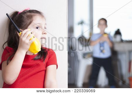 Children Play With Walkie-talkie