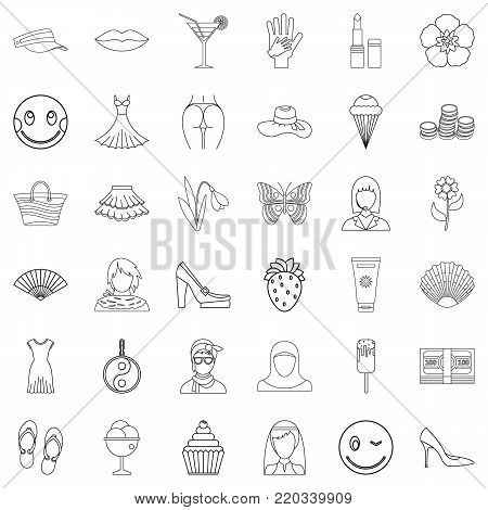 Lady icons set. Outline style of 36 lady vector icons for web isolated on white background
