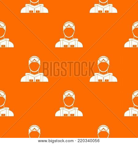 Military paratrooper pattern repeat seamless in orange color for any design. Vector geometric illustration