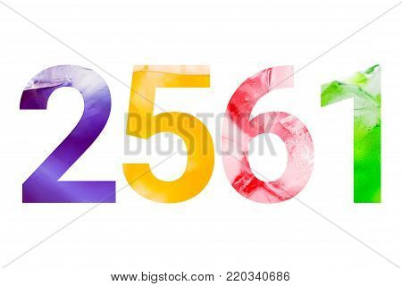 Sparkling drink with ice cubes in number 2561 (Buddhist era) isolated on white background with clipping path. Colorful and freshness year concept. poster
