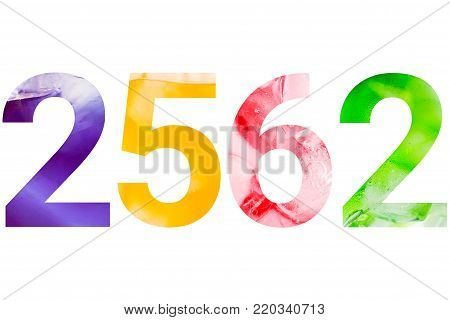 Sparkling drink with ice cubes in number 2562 (Buddhist era) isolated on white background with clipping path. Colorful and freshness year concept. poster