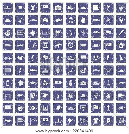 100 geography icons set in grunge style sapphire color isolated on white background vector illustration