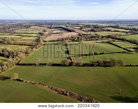 Berkshire UK rural countryside farm fields winter aerial photo