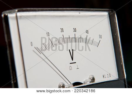 Detail Of An Analog Voltmeter, Pointer Scale