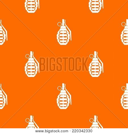 Hand grenade, bomb explosion pattern repeat seamless in orange color for any design. Vector geometric illustration