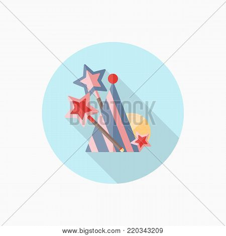 Magic wand and birthday hat flat icon with long shadow. Flat style illustration. Clip art. Birthday card.