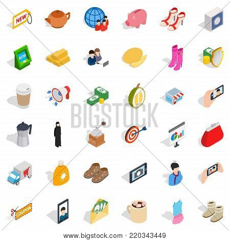 Lady icons set. Isometric style of 36 lady vector icons for web isolated on white background