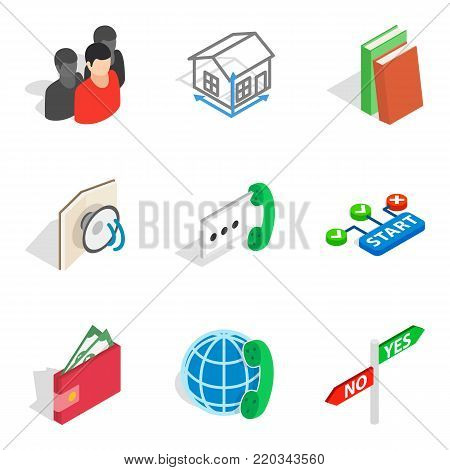 Crew member icons set. Isometric set of 9 crew member vector icons for web isolated on white background