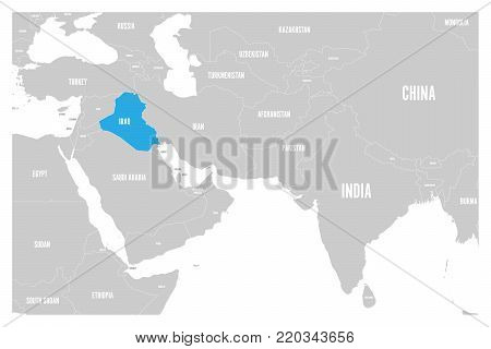 Iraq blue marked in political map of South Asia and Middle East. Simple flat vector map..