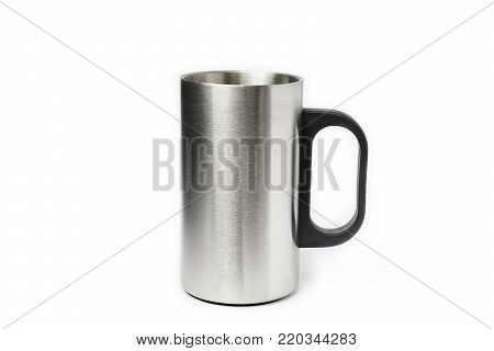 Stainless cup on a white background - for hot drink