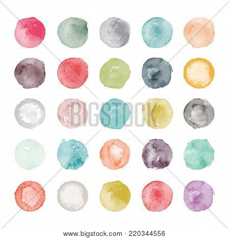Set of watercolor shapes. Watercolors blobs. Set of colorful watercolor hand painted circle isolated on white. Illustration for artistic design. Round stains, blobs of different color