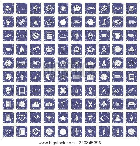 100 astronomy icons set in grunge style sapphire color isolated on white background vector illustration