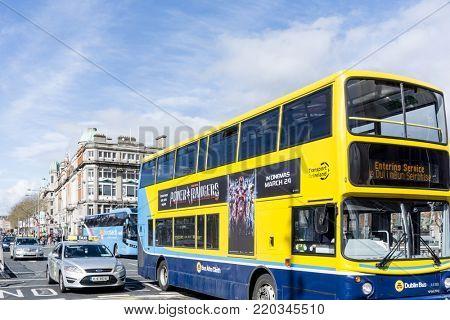 DUBLIN, IRELAND - March 31, 2017: Sightseeing bus in Dublin Ireland