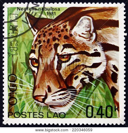LAOS - CIRCA 1981: a stamp printed in Laos shows clouded leopard, neofelis nebulosa, wild cat, circa 1981