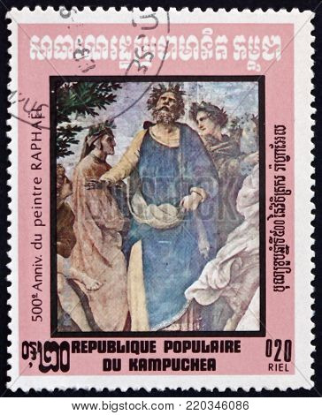 CAMBODIA - CIRCA 1983: a stamp printed in Cambodia shows Dante, Ennius, Homer, detail from Parnassus, painting by Raphael, circa 1983