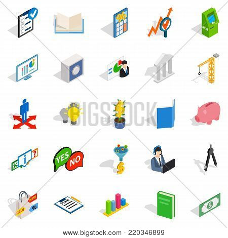 Department icons set. Isometric set of 25 department vector icons for web isolated on white background