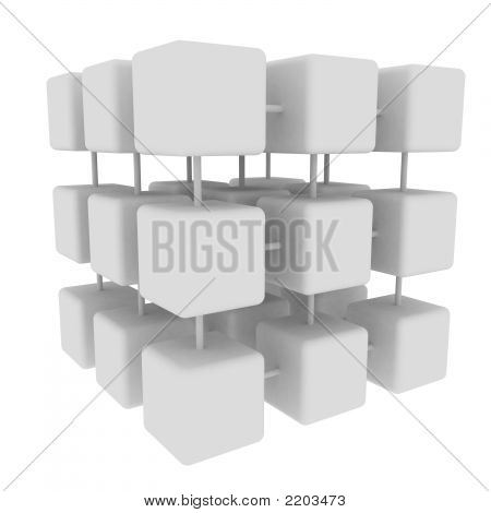 White Connected Cubes  Side
