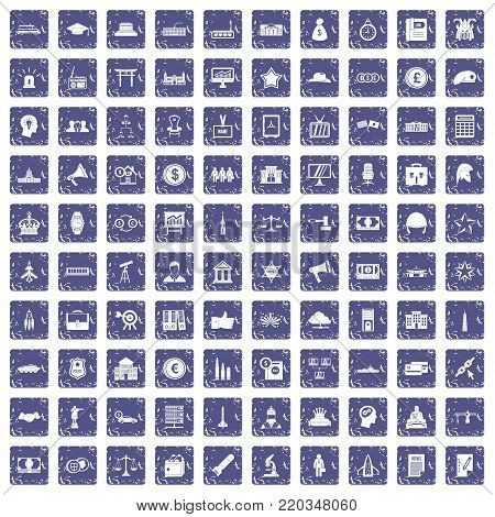 100 government icons set in grunge style sapphire color isolated on white background vector illustration