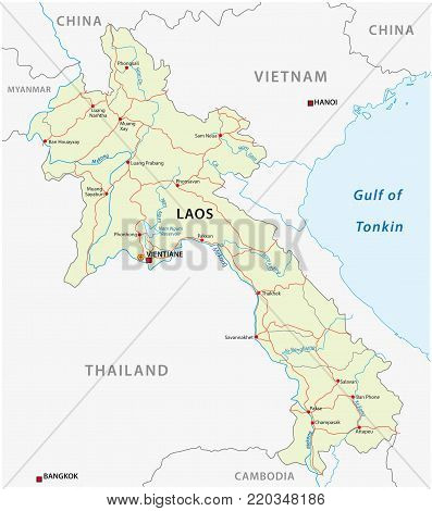 Road vector map of Lao People`s Democratic Republic