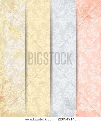 Damask patterns set Vector. Baroque ornament decor. Vintage background. Delicate colors fabric texture