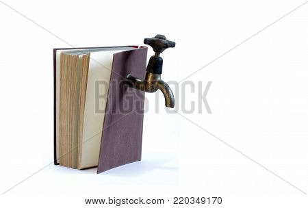 water tap and book the instalater's manual objects isolated