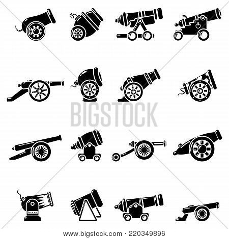 Cannon retro icons set. Simple illustration of 16 cannon retro vector icons for web
