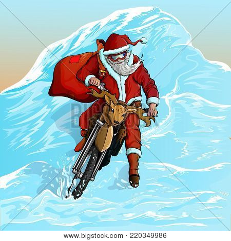 santa claus descends from the snow-covered mountain on a motorcycle. new vector illustration