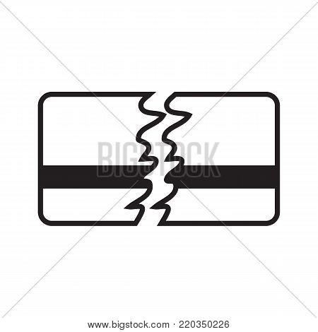 Credit card icon broken concept vector illustration line