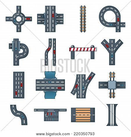 Road parts constructor icons set. Cartoon illustration of 16 road parts constructor module vector icons for web