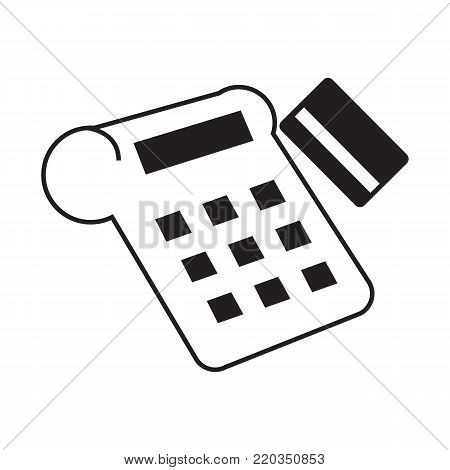 Pos device and credit card icon technology concept vector illustration line