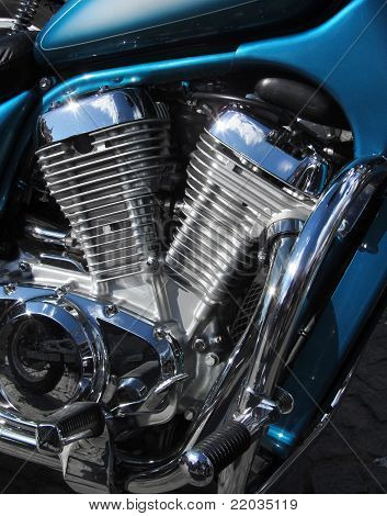 Motorbike engine shiny chromed metal V2 cylinders poster
