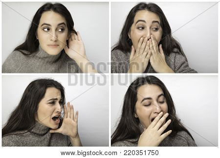 Series of four portraits of a beautiful woman listening with her hand to her ear, reacting in embarrassment, shouting with her hand to her mouth and yawning isolated on white
