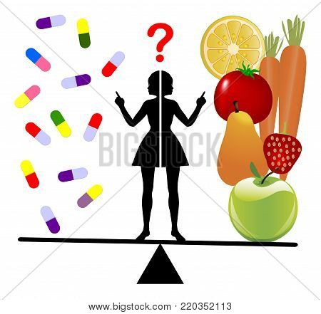 Dietary Supplements or Fruits and Vegie. Woman undecided between nutrients in a pill or real fruits and vegetables,