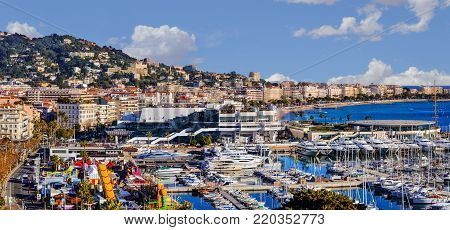CANNES, FRANCE - DECEMBER 31, 2016: Panoramic view of Le Suquet- the old town and Port Le Vieux of Cannes, France