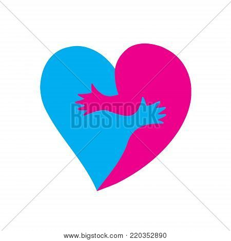 Two halves of a heart hugging each other. Vector illustration on National Hugging Day and Valentine's day.