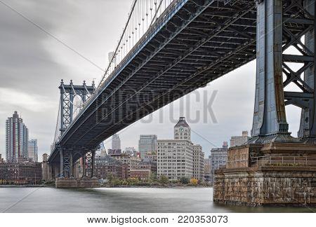 HDR image of Manhattan Bridge - view from Manhattan.