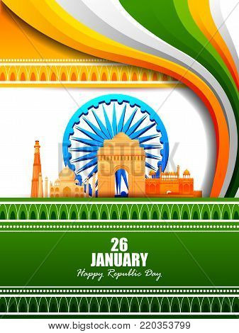 easy to edit vector illustration of Happy Republic Day of India tricolor famous monument background for 26 January