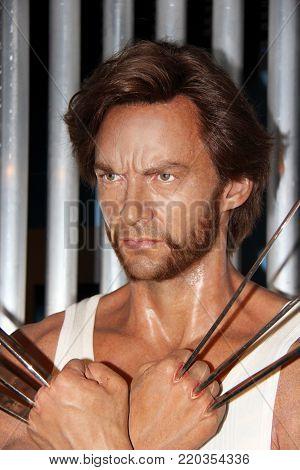 Stock photo ID: 765714715  London, - United Kingdom, 08, July 2014. Madame Tussauds in London. Waxwork statue of Wolverine