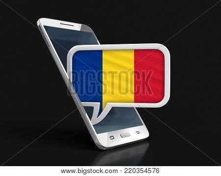 3d illustration. Touchscreen smartphone and Speech bubble with Romanian flag. Image with clipping path