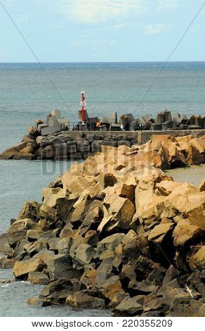 Australia- The jetty and lighthouse in Wollongong harbor