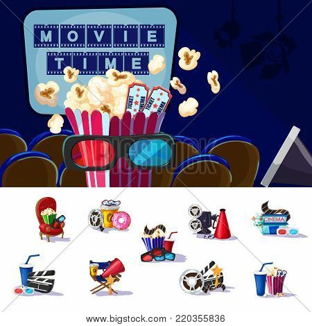 Movie premiere concept with snacks soda tickets 3D glasses chairs award and equipment for cinema production vector illustration